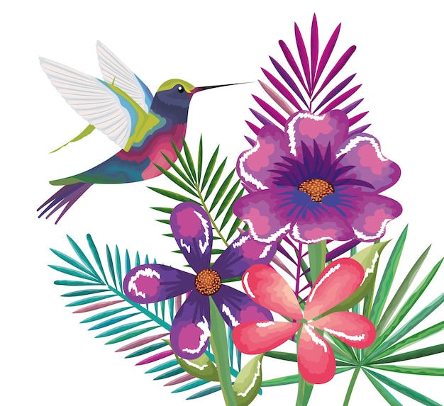 Tropische en exotische tuin met kolibrie