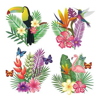Tropische en exotische vogel met ontwerp van de bloemendecoratie het vectorillustratie