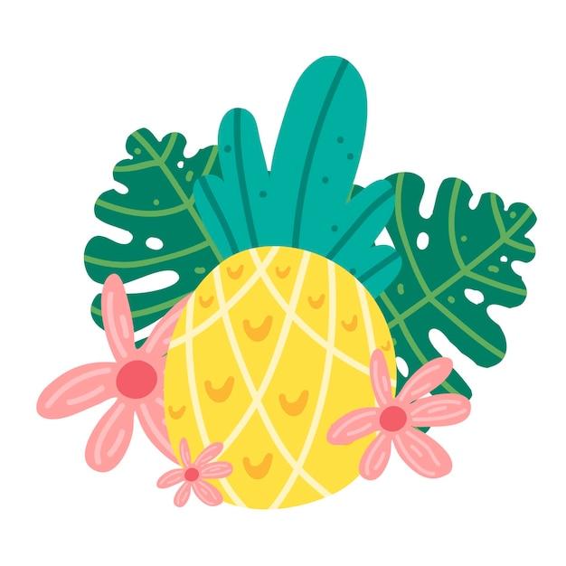 Tropische exotische ananas met bloem