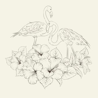 Tropische exotische bloemen met elegante flamingo'svogels over grijs