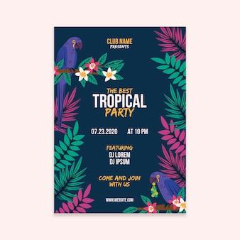 Tropische feestaffiche met dierenontwerp