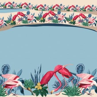 Tropische flamingo grens vector frame blauwe achtergrond