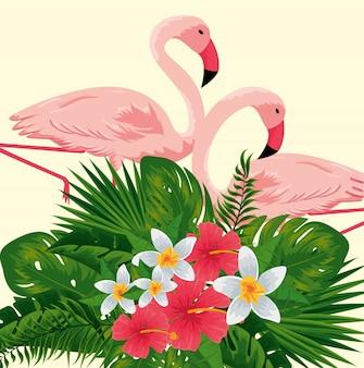 Tropische flamingo's met exotische bloemen planten