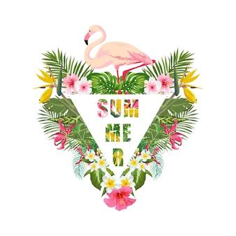 Tropische flamingovogel en bloemenachtergrond. zomer design... t-shirt mode grafisch. exotisch.