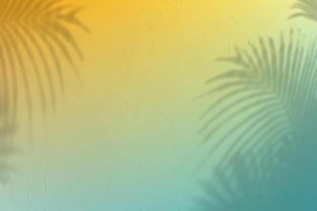 Tropische gradiëntachtergrondvector met bladschaduw