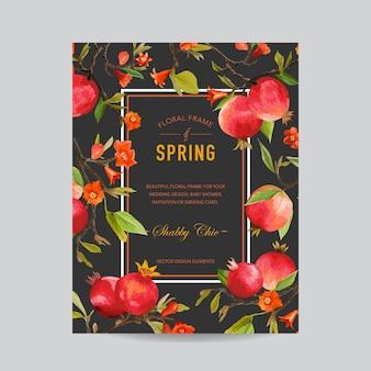 Tropische granaatappel en kleurrijke bloemenkader - voor uitnodiging, bruiloft, babydouche card