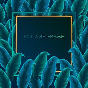 Tropische groen gebladerte frame achtergrond. kaderachtergrond met tropisch gebladertelandornament