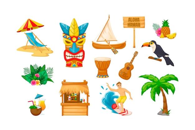 Tropische hawaii zomervakantie set. traditionele exotische etnische masker, strand, chaise longue, boot, fruit, papegaai, plant, tribal drum, gitaar, cocktails, toog, surfer, palmboom cartoon vector