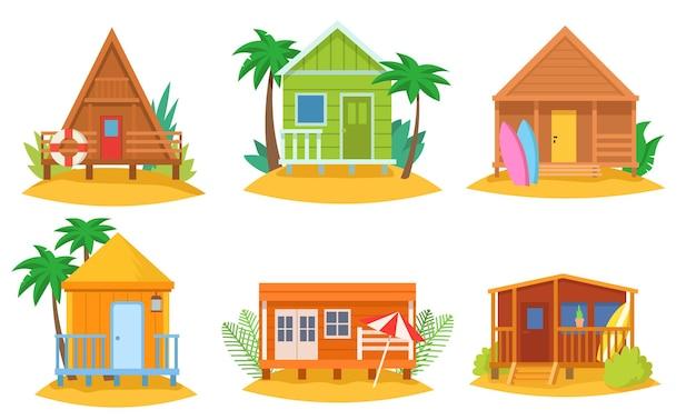 Tropische huizen cartoon illustraties set