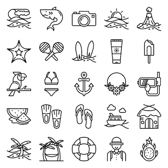 Tropische icon pack, met overzicht pictogramstijl