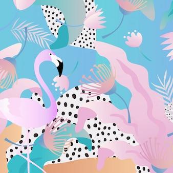 Tropische jungle bladeren met flamingo's