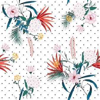 Tropische jungle en bloeiende bloemenmix