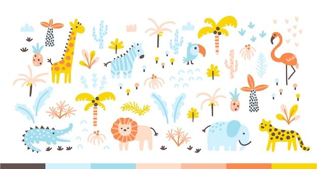 Tropische jungle set met wilde dieren en palmen in een eenvoudige handgetekende scandinavische doodle-stijl