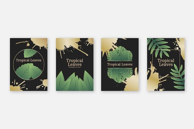 Tropische kaarten met gouden spatten