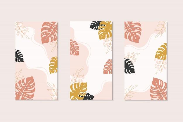 Tropische kaartsjablonen in moderne stijl met kopie ruimte voor tekst. flayer design met bruine, zwarte, gele monsterabladeren. tropische sociale mediasjablonen.