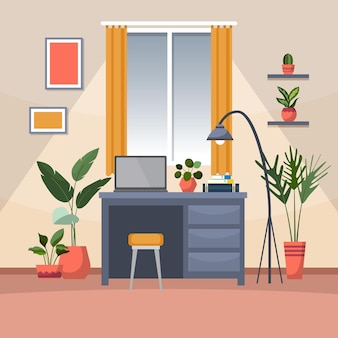 Tropische kamerplant groene decoratieve plant in kantoor werkruimte illustratie