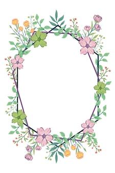 Tropische kleurrijke bloem briefkaart uitnodiging frame