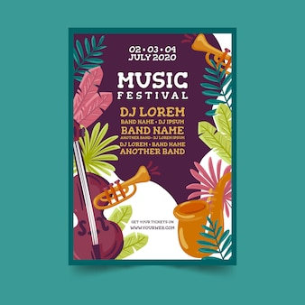 Tropische kleurrijke muziek poster