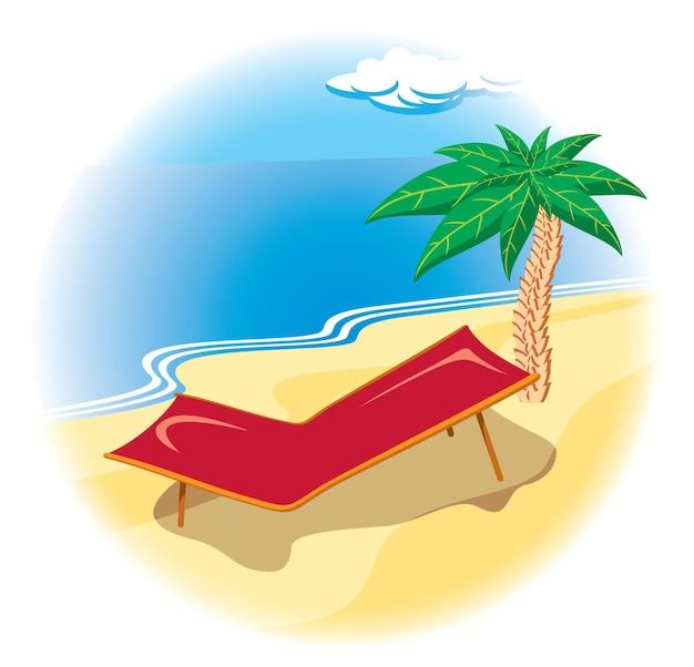 Tropische kust met ligstoel