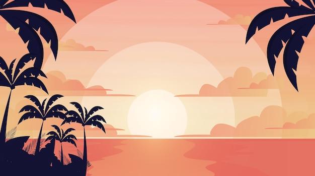 Tropische landschapsachtergrond voor zoom gratis vectorachtergrond
