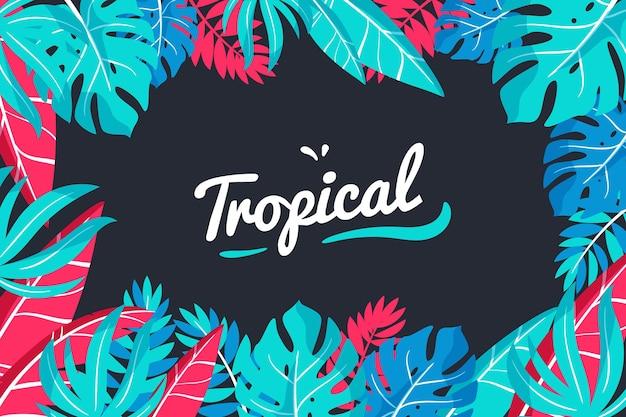 Tropische letters met bladeren en bloemen