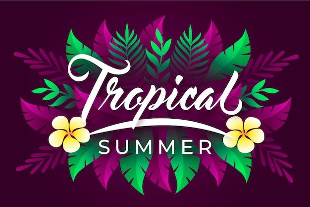 Tropische letters met bladeren of bloemen