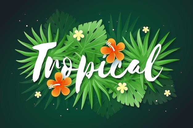 Tropische letters met bladeren