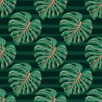 Tropische monstera verlaat naadloos patroon met op streepachtergrond.