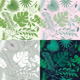 Tropische naadloze patronen collectie. set van hawaiiaanse planten, palmbladeren. goed voor behang, uitnodigingskaarten, textielafdrukken. vector illustratie. botanische bloemen, trendy illustraties.