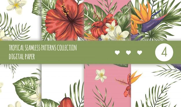Tropische naadloze patronen collectie. zomer of lente herhaal tropische achtergronden instellen. trendy exotische jungle ornamenten.