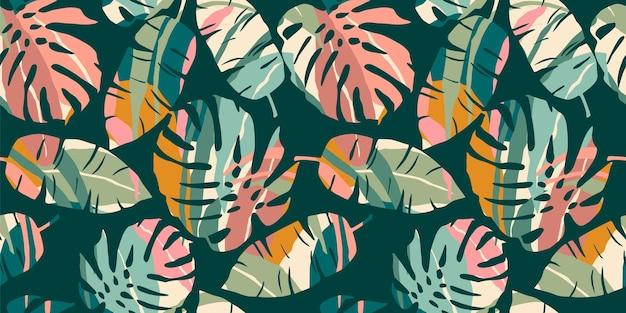 Tropische naadloze patroon met abstracte bladeren.
