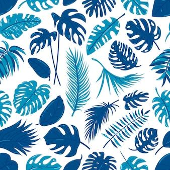 Tropische naadloze patroon met exotische palmbladeren.