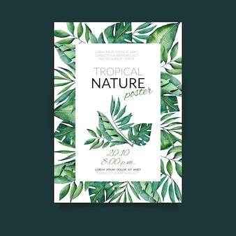 Tropische natuur met exotische bladeren poster sjabloon