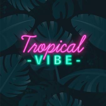 Tropische neon belettering met bladeren