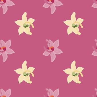 Tropische orchidee bloemen vormen naadloos patroon in doodle stijl.