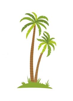 Tropische palm op eiland met overzeese golven