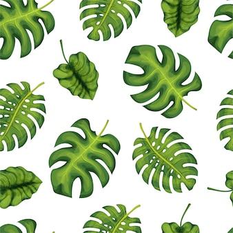 Tropische palmbladeren, jungle verlaat naadloze patroon achtergrond