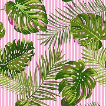 Tropische palmbladeren naadloze patroon. aquarel bloemen achtergrond. exotisch botanisch ontwerp voor stof, textiel, behang, inpakpapier. vector illustratie