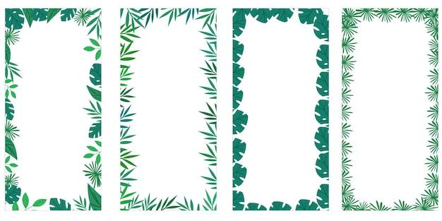 Tropische palmbladeren omlijsten een botanische vectorillustratie. banner met een rand voor tekst geïsoleerd op een witte achtergrond in euro-formaat.