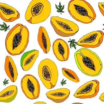 Tropische papaja naadloze patroon
