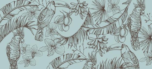 Tropische papegaai kaart lijntekeningen. exotisch patroon laat decors achter