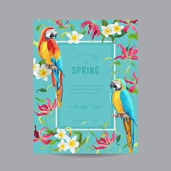 Tropische papegaaivogels en kleurrijke bloemenkader - voor uitnodiging, huwelijk, kaart van de babydouche