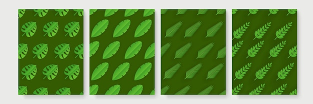 Tropische papier gesneden bladeren patroon set