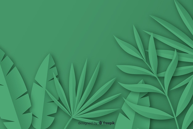 Tropische papieren palmbladen frame in het groen