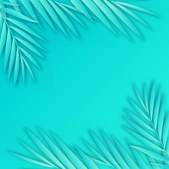Tropische papieren palmbladeren frame achtergrond met zachte schaduw.
