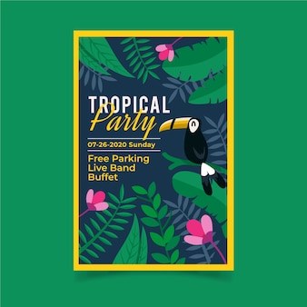 Tropische partij poster stijl
