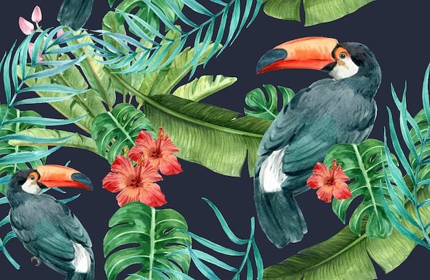 Tropische patroon bloem aquarel, bedankt kaart, textieldruk illustratie