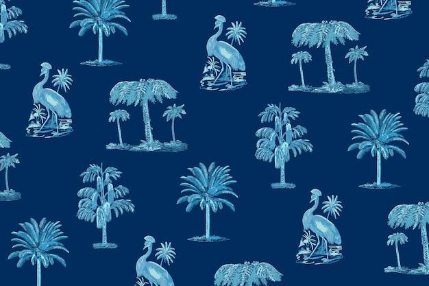 Tropische patroon zomer achtergrond in blauwe tint