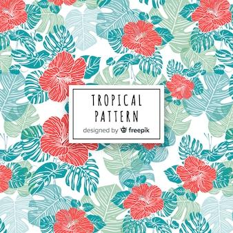Tropische patroonachtergrond met bladeren en bloemen