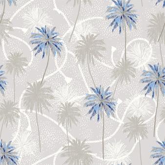 Tropische plam bomen laag op matroos touw textuur zomer stemming naadloze patroon.